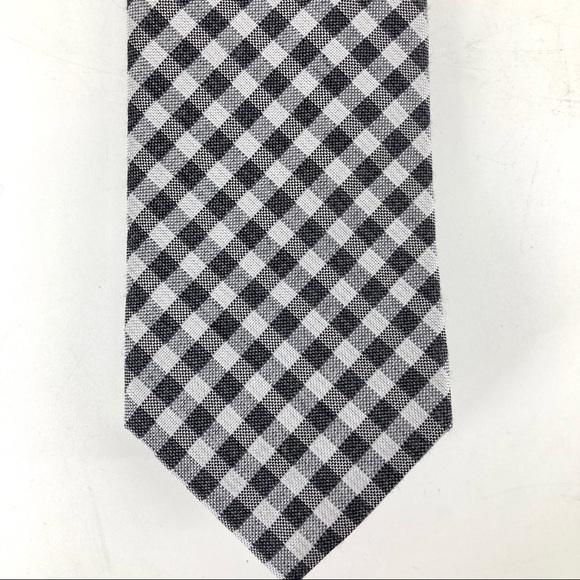 Michael MK: NWT polyester/silk tie in gray check.